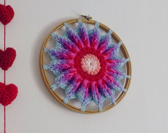 Crochet Pattern Mandala Hoop PDF - ottoman or crochet  hoop wall art photo tutorial - Instant DOWNLOAD