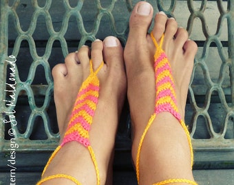 Barefoot Sandles Crochet Pattern Tribe PDF  - geometric trend accessory - Instant DOWNLOAD