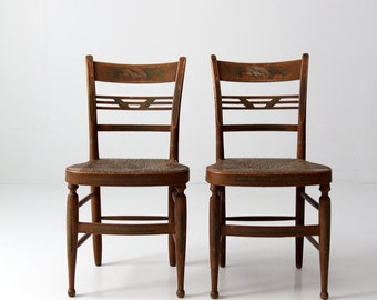 antique rush seat chair pair, set painted back wood chairs