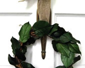 Classic wedding wreath, all-season wreath, preserved lemon leaves, dried floral wreath, wedding decoration
