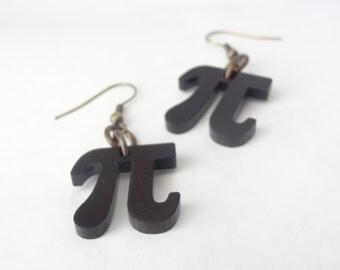 Pi earrings geekery science math black brass jewelry