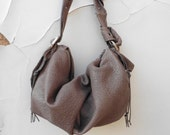 Slouchy Gathered Leather Purse in Grey Textured Leather , Cognac Brown or Black -  Made to Order