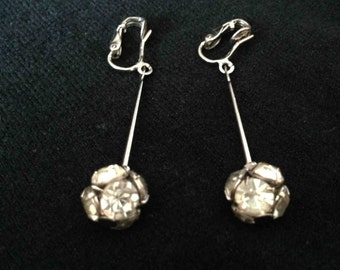 Vintage Rhinestone Clip-On Earrings - Free Shipping to the USA