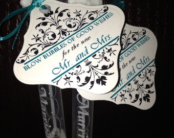 Bubbles of Good Wishes Favor Tags with Ornamental Flourish Set of 50