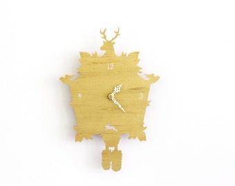 Gold Cuckoo Clock SALE  - Modern Gold Wall Clock