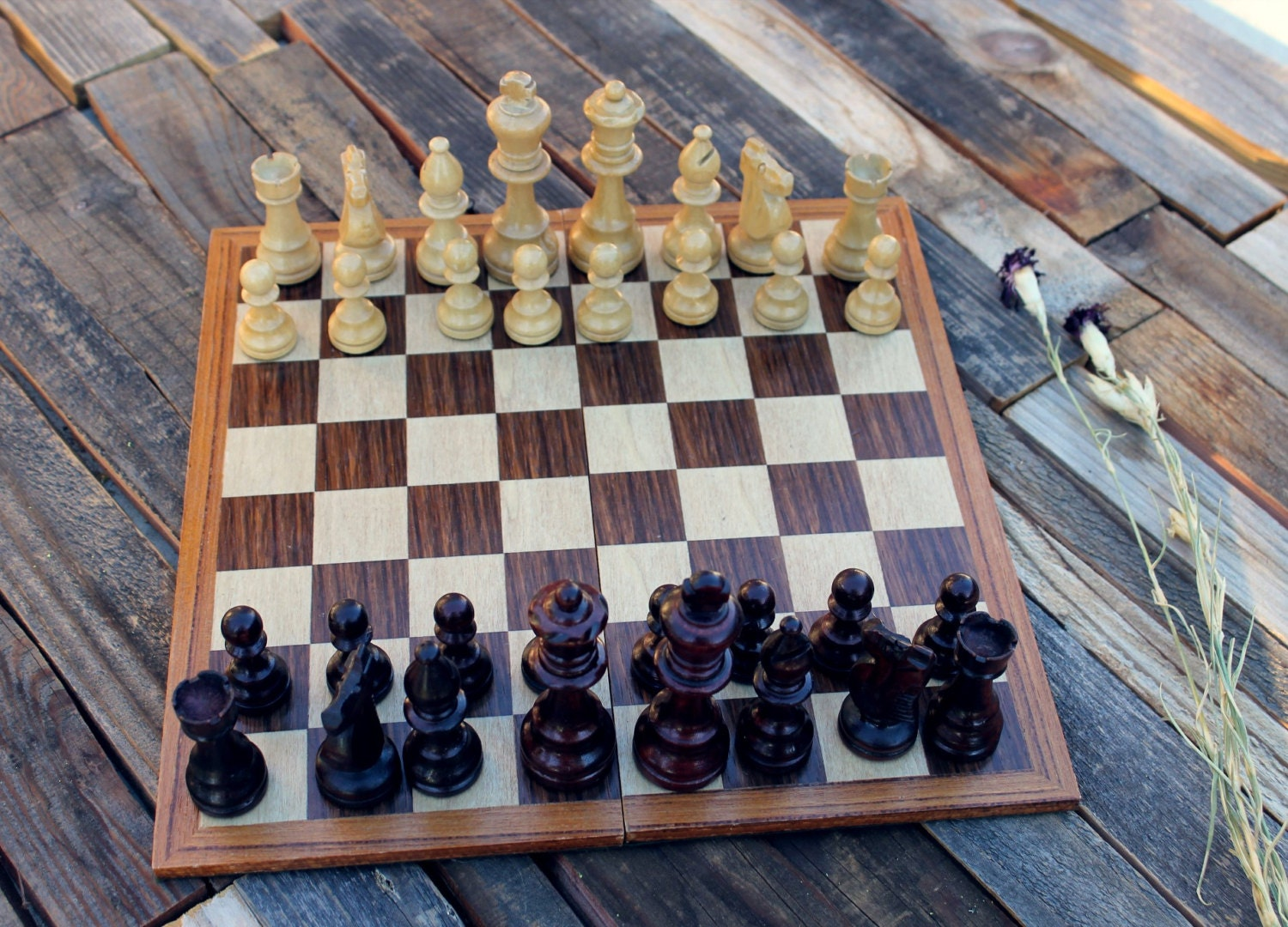 Vintage wooden chess set briefcase chess set - Chess board display case ...