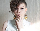 Leather and gold large gypsy statement earrings