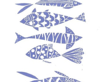 Fishes Linocut - Printmaking, Original  Print - Blue Art, Hand Pulled Print