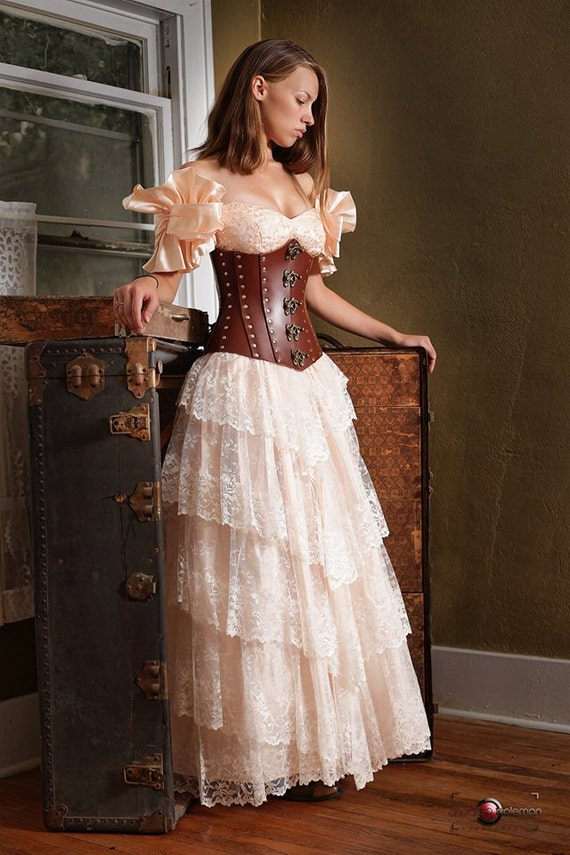 Hard leather corset for Steampunk corset wedding dress