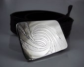 Tidal Wave Belt Buckle - Etched Stainless Steel - Handmade