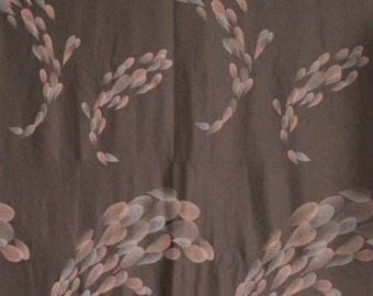 1 1/2 yards Vintage Abstract Brown Polyester Fabric