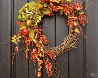 Fall Wreath-Autumn Wreath Orange Berry Branches-Twig-Holiday Wreath- Grapevine Door Decor-Fall Decor Green Hydrangea... LAST ONE