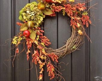 Fall Wreath-Autumn Wreath Orange Berry Branches-Twig-Holiday Wreath- Grapevine Door Decor-Fall Decor Green Hydrangea... LAST ONE