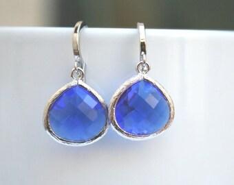 Silver Blue Earrings.Silver Cobalt Blue Earrings.Blue Earrings.Bridesmaid Earrings.Bridal Jewelry.Wedding.Dangle Earrings. Bridesmaid Gift.
