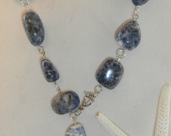 Silver and Polished Sodalite Stone Necklace