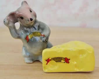 Vintage Mouse and Cheese Salt and Pepper Shaker Denver Souvenirs