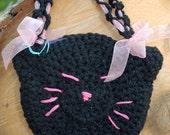 Cat purse, Crochet Kitten Purse, Black Cat, Handbag Accessory