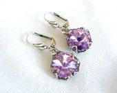 Austrian Swarovski Crystal Aurora Borealis Pink Lavender  Colored Round Rhinestone Earrings