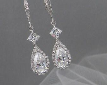 Crystal Bridal Earrings, Crystal Wedding earrings, Crystal earrings, Wedding Jewelry, Bridal Jewelry, Alicia Crystal Earrings