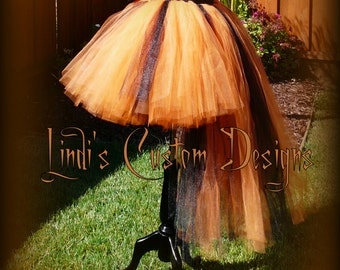 Witch Hi Low Tutu Bustle Style, Orange and Black, for Parties, Pageants, Costume.... Tutu Only!