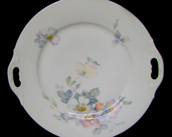 Antique Thomas Bavaria Handled Serving Plate c1890 Hand Painted Charger 10.5 in