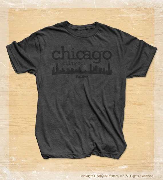 Chicago skyline t shirt in heather charcoal by geenyus on etsy for Cheap t shirt printing chicago