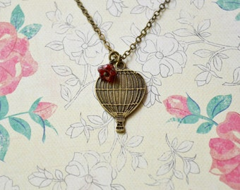 Hot Air Balloon Necklace ~ Siam Ruby ~ Czech Glass Baby Bell Flower~ Whimsical Jewelry ~ World Traveler ~ Pendant Necklace ~ Travel Jewelry