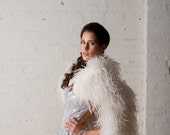 Ostrich feather cape stole wrap wedding dress ready perfect accessory