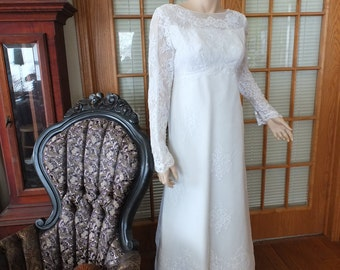 Vintage wedding dress white chantilly lace 1970s 1960s gown empire dress