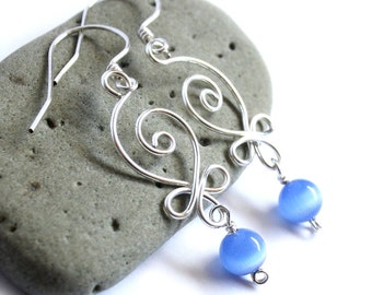 Celtic Swirls Earrings - Silver Wire Wrapped and Choice of Glass Cats Eye Bead - Elegant Elvish Celtic Knot