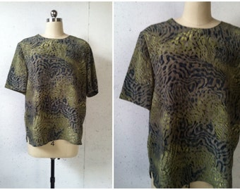 vintage 1990s slouchy green boxy blouse \\ Painted Jungle Blouse \\ wild animal print in myriad greens \\ modern essentials