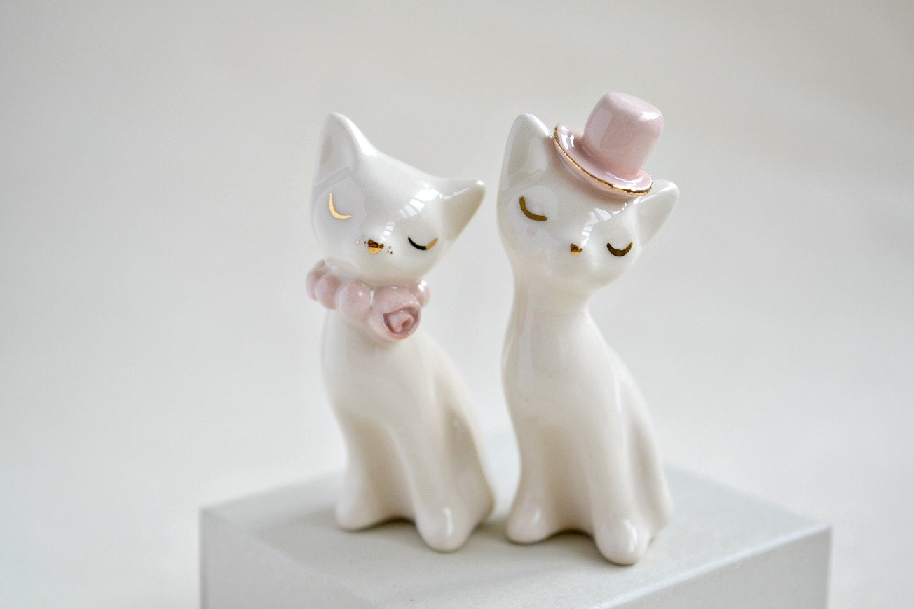 Cat cake topper wedding cake topper pink gold ivory