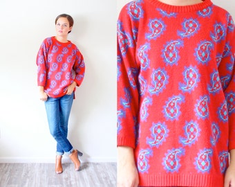 Vintage bright red paisley sweater // MOD red knit sweater // Red and blue boho sweater // oversized sweater // christmas sweater