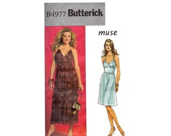 Halter Dress UNCUT sewing pattern OOP Sizes 14 16 18 20 Bust 36 38 40 42 Muse Butterick 4977 Fitted Midriff inset party event dress Holiday