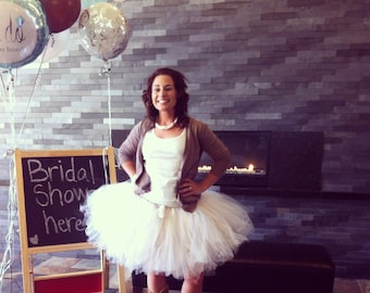 "Bridal Tutu for waist 35"" up to 42""  great for Halloween, Birthdays, Dance and Bachelorette parties"