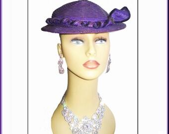 Vintage 1950s Hat Purple Femme Fatale Couture Mad Men Garden Party Rockabilly Pinup Bombshell Dress