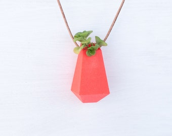 Geometric Planter in Coral: A Wearable Planter