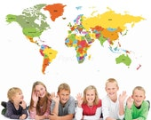World Map Kids Wall Decals Children Wall Stickers- World Map -Educational Wall Mural Playroom Vinyls Children Must Have Wall Arts prt0018