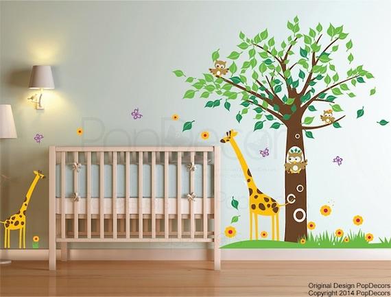 "Nursery Tree Decal Kids Owls Giraffe Playroom Wall Stickers Children Room Art-Big Tree with Cute Giraffe (79"" tall ) - PT0075"