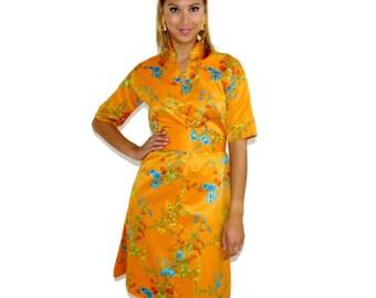 Vintage Kimono Dress, 60s Asian Dress, Mandarin Kimono, Orange Dress, Size Small-Medium