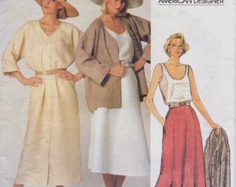 80s Calvin Klein Womens Lagenlook Jacket, Dress, Skirt and Top Vogue Sewing Pattern 1377 Size 12 Bust 34 FF Vogue American Designer Pattern