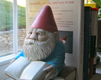"Gnome: ""Gnewman"",  Bookworm Gnome, Painted Cement Statue, Garden Concrete Figure"