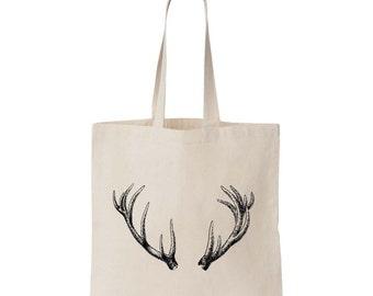 Antler Canvas Tote Bag - screen printed antlers