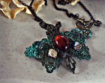 Butterfly Filigree Brass Patina Pendant Necklace from ARANYA Collections