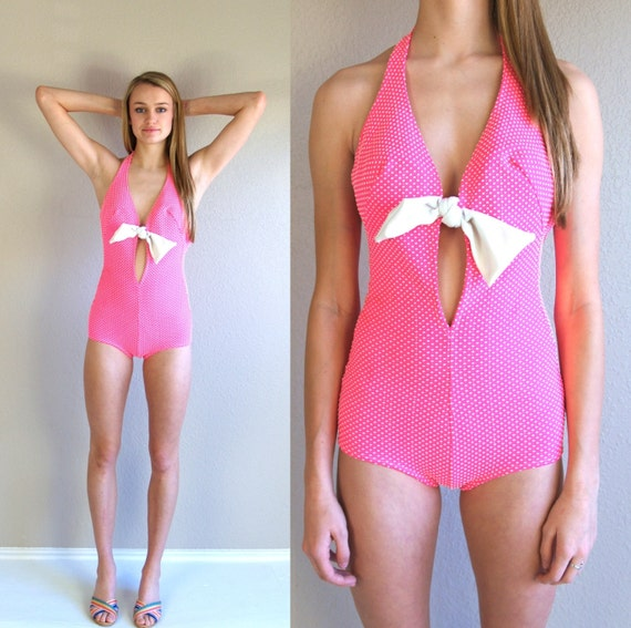 vtg 60s neon pink polka dot cut out swimsuit bow xs s pinup. Black Bedroom Furniture Sets. Home Design Ideas