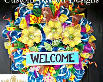 Welcome Turquoise Sunflower  Wreath