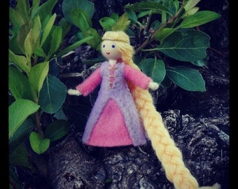 Rapunzel Doll - Miniature Tangled Princess Doll - Waldorf Inspired - Bendy Doll