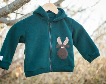 Children's Moose Jacket Green Fleece