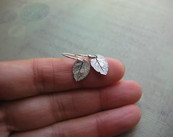Tiny Rose Leaf Earrings in Sterling Silver  - Rustic Stering Silver Leaf and Sterling Silver Earwries - Handmade Artisan Metalwork Earrings