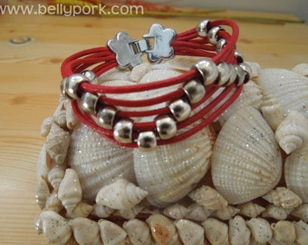Leather bracelet, red cuff, red bracelet, leather cuff, braded leather cuff, flower cuff, red cuff, red leather cuff, beaded leather cuff